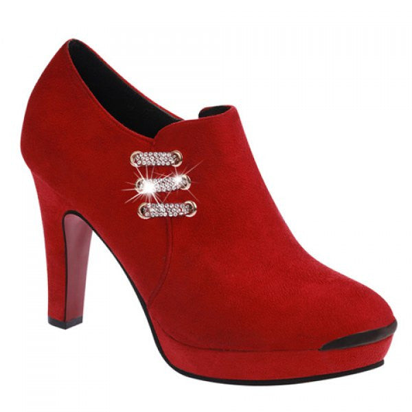 Rhinestones Closed Toe Stiletto High Heels Women's Shoes - Red - Alternative Measures -