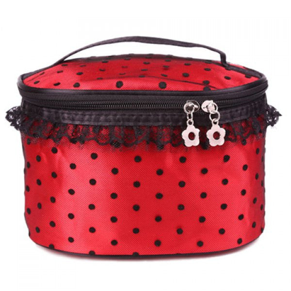 Flower Zipper Polka Dots Cosmetic Bag With Lace Detail - Red - Alternative Measures