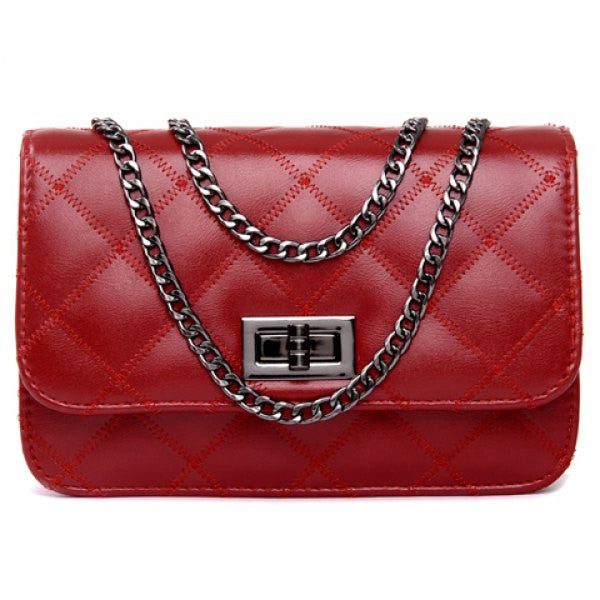 Cute Argyle Shoulder Bag - Red - Alternative Measures