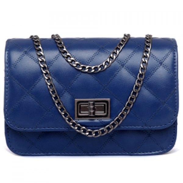 Cute Argyle Shoulder Bag - Blue - Alternative Measures