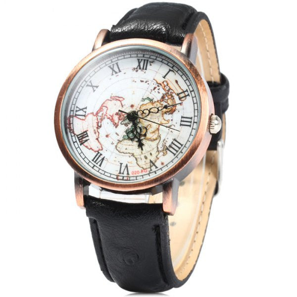 Vintage Leather World Map Roman Numeral Collectible Analog Watch - Alternative Measures -  - 1