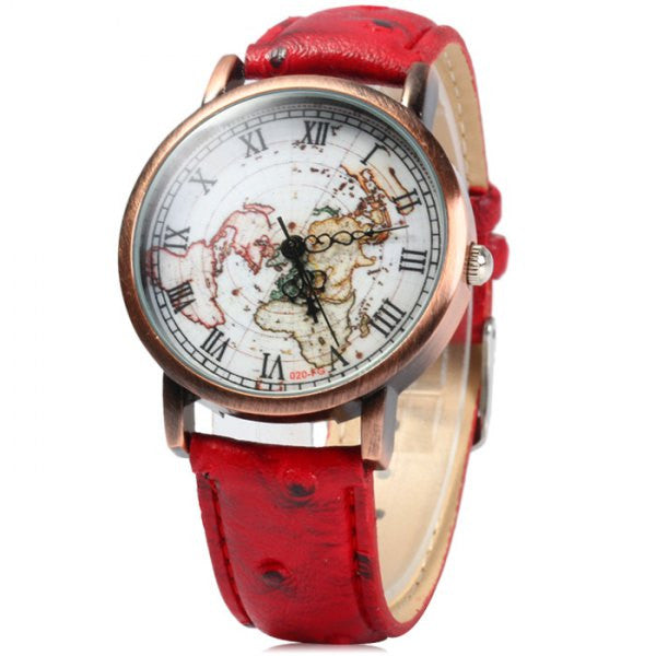 Red Vintage Leather World Map Roman Numeral Collectible Analog Watch - Alternative Measures -  - 1