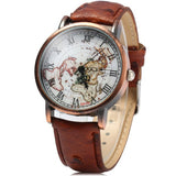 Red Vintage Leather World Map Roman Numeral Collectible Analog Watch - Alternative Measures -  - 2