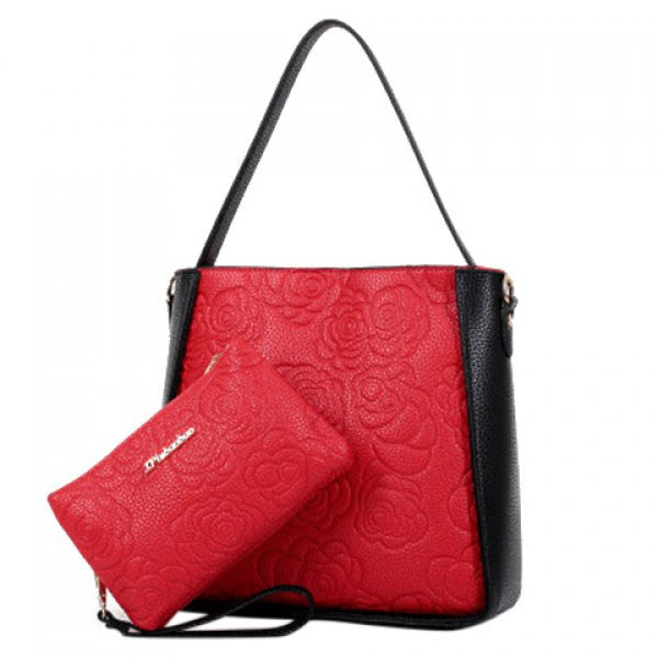 Floral Tote Shoulder Bag Set w/ Matching Clutch Wallet - Black & Red - Alternative Measures