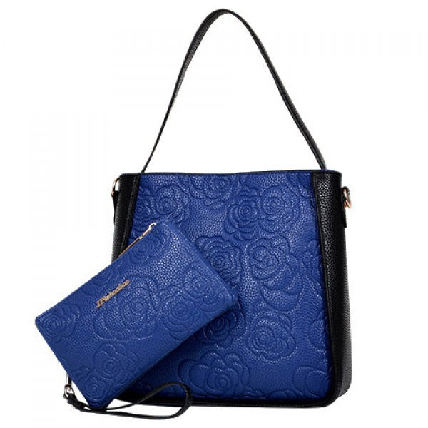 Floral Tote Shoulder Bag Set w/ Matching Clutch Wallet - Black & Blue - Alternative Measures