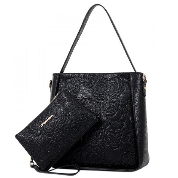Floral Tote Shoulder Bag Set w/ Matching Clutch Wallet - Black - Alternative Measures