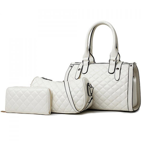 Retro Women's Argyle 3pc Handbag/Purse Set - White - Alternative Measures -  - 1