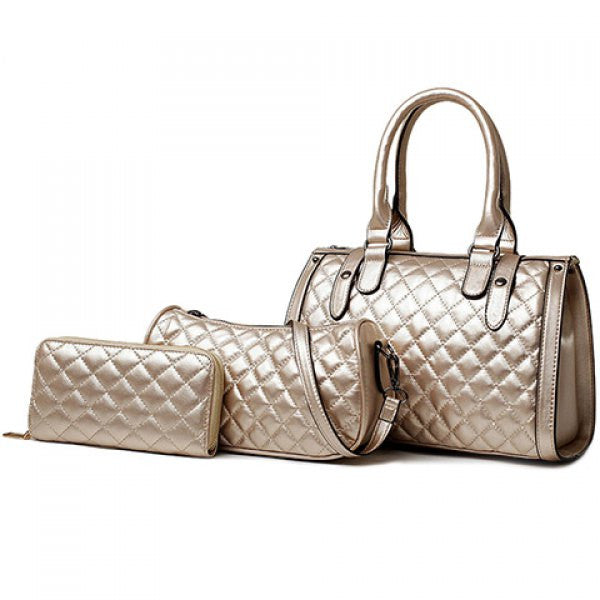 Retro Women's Argyle 3pc Handbag/Purse Set - Natural Pearl - Alternative Measures -  - 1