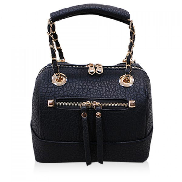 Dahlia Small Retro Style Hand Bag - Black - Alternative Measures