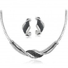 0.50ct TDW Black & White Diamond Twist Omega Necklace and Earrings Set - Alternative Measures