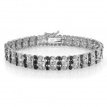 1.00ct TDW Black & White Diamond S Pattern Tennis Bracelet - Alternative Measures