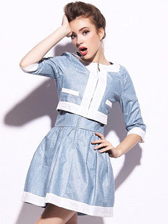 2014 Slim Cut Two Pieces Dress Pure Color Round Collar Three-quarter Sleeve Coat Denim Sleeveless Dress S-XL - Alternative Measures