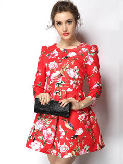 2014 European New Popular Women Dress Printed Pattern Three-quarter Sleeve Short Red Dress S-XL - Alternative Measures