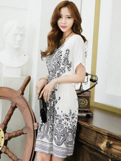 2014 European Plus Size Women Dress Pure Color Printed Pattern Short Sleeve V Neck White Dress L XL - Alternative Measures