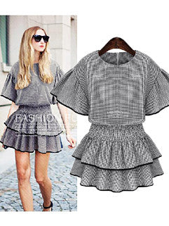 2015 Euro Style Latest Design Classic Plaid Printed Ruffle Bat Sleeve Womenly Dress - Alternative Measures