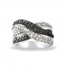 1/2ct Black & White Diamond Crossover Twist Silver Tone Band Ring - Alternative Measures