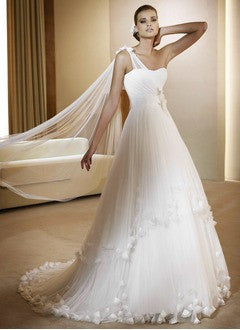 A-Line/Princess Chapel Train Satin Wedding Dress With Embroidered Beading - Alternative Measures