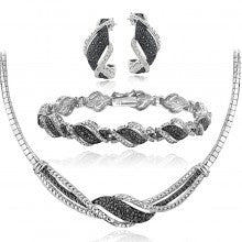 3/4 Ct Black & White Diamond Twist Necklace Bracelet Earrings Set - Alternative Measures