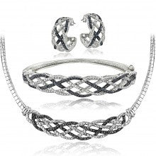 3/4 Ct Black & White Diamond Weave Necklace Bracelet Earrings Set - Alternative Measures
