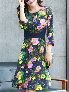 2015 Elegant Women Sweet Floral Printed Round Collar Three Quarter Sleeve Empire Waist Dress - Alternative Measures