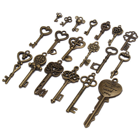 19pcs New Arrival Antique vintage old look skeleton key lot pendant heart bow lock steampunk Alternative Measures - Alternative Measures