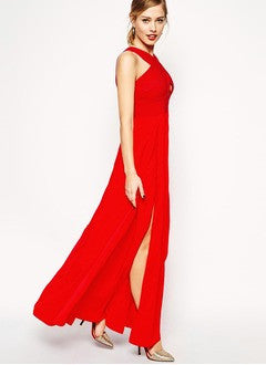 A-Line/Princess Floor-Length Chiffon Evening Dress With Split Front - Alternative Measures
