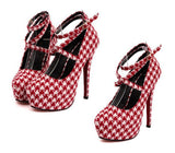 NEW ARRIVAL White & Red Strappy Houndstooth Stiletto Heel Shoes - Alternative Measures -  - 2
