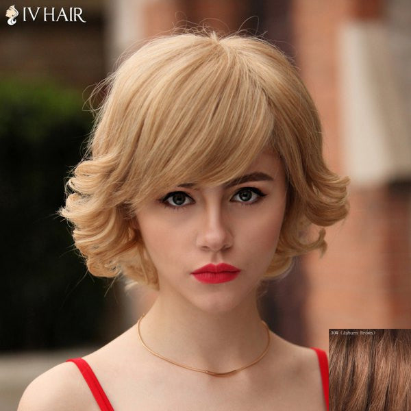 100 Percent Human Hair Graceful Short Capless Fluffy Wavy Siv Hair Wig For Women