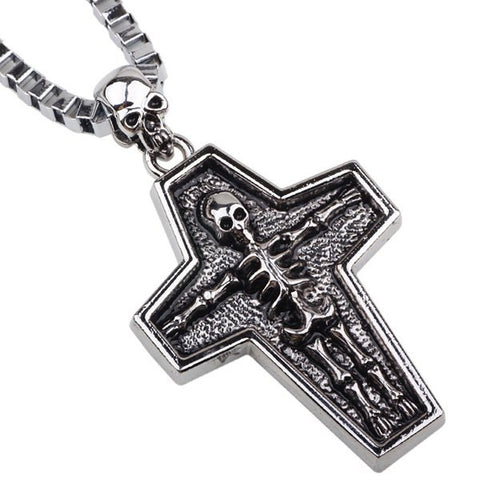 Vintage Skull Cross Box Chain Necklace For Men