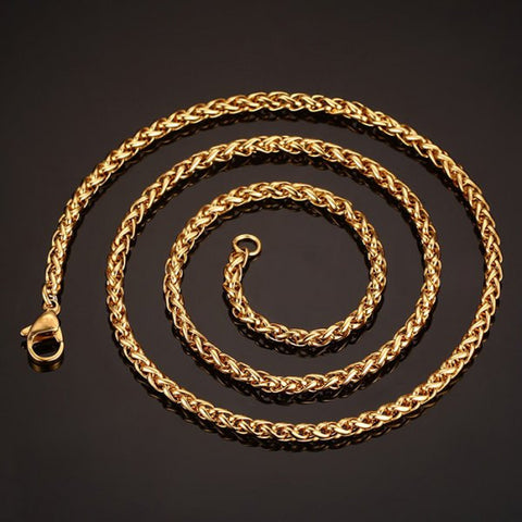 Stylish 60CM Length Golden Braided Wheat Chain Necklace For Men