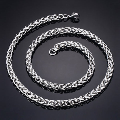 Stylish 60CM Length Thick Silvery Braided Wheat Chain Necklace For Men