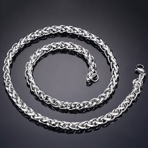 Stylish 76CM Length Silvery Thick Braided Wheat Chain Necklace For Men