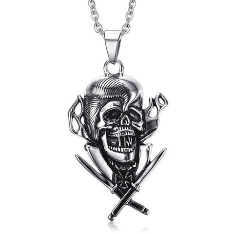 Vintage Skull Crucifix Sword Necklace For Men