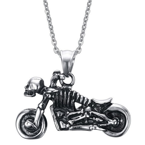 Vintage Motorcycle Skull Shape Necklace For Men