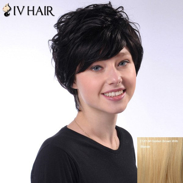 100 Percent Human Hair Ladylike Short Siv Hair Fluffy Wave Capless Wig For Women