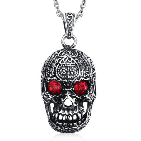 Stylish Rhinestone Carving Skull Necklace For Men