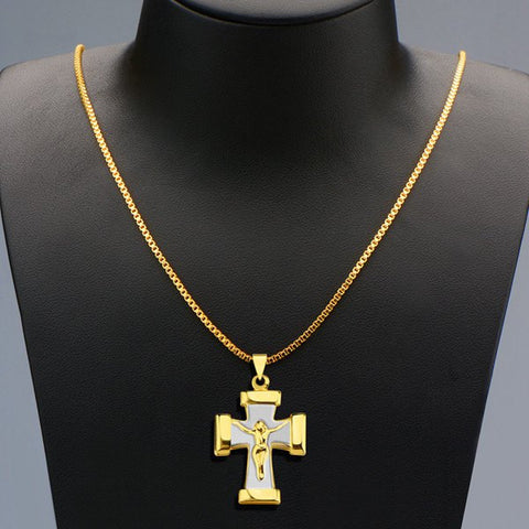 Vintage Crucifix Shape Pendant Necklace For Men