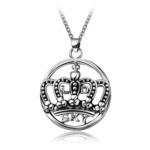 Punk Etched Filigree Crown Letters Round Pendant Necklace