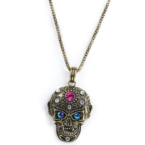 Burnished Rhinestone Big Skull Necklace