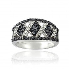 1/2ct Black & White Diamond Criss Cross Silver Tone Band Ring - Alternative Measures
