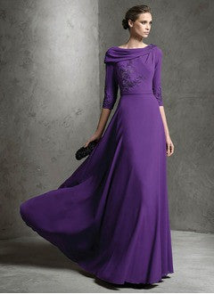 A-Line/Princess Cowl Neck Floor-Length Chiffon Evening Dress With Appliques Lace - Alternative Measures
