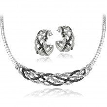 0.50ct TDW Black & White Diamond Weave Omega Necklace and Earrings Set - Alternative Measures