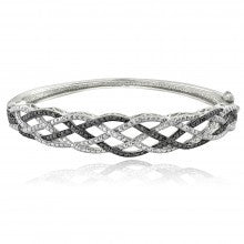 1/4 Ct Black & White Diamond Weave Bangle Bracelet - Alternative Measures
