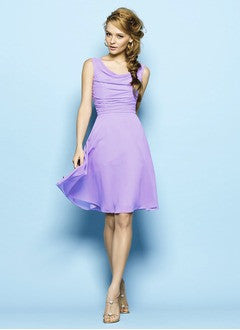 A-Line/Princess Cowl Neck Knee-Length Chiffon Prom Dress With Ruffle - Alternative Measures