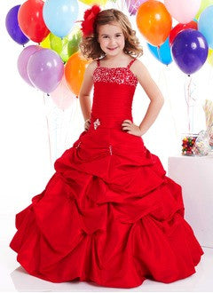 A-Line/Princess Floor-Length Taffeta Flower Girl Dress With Ruffle Beading - Alternative Measures