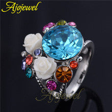 #5.5-9 Ajojewel Brand Fashion Shinning White Gold Plated White Rose Hold Big Blue Crystal Flower Ring Women's Love - Alternative Measures