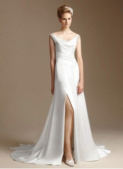 A-Line/Princess Cowl Neck Watteau Train Charmeuse Lace Wedding Dress With Ruffle Beading Split Front - Alternative Measures