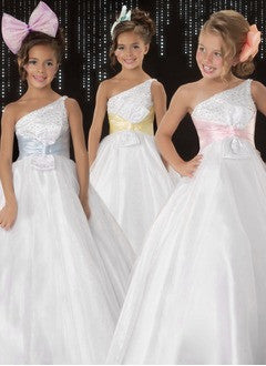 A-Line/Princess Floor-Length Organza Satin Flower Girl Dress With Sash Beading - Alternative Measures