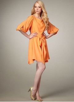 A-Line/Princess Cowl Neck Short/Mini Chiffon Homecoming Dress With Ruffle - Alternative Measures