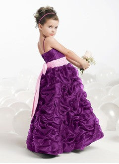A-Line/Princess Floor-Length Organza Satin Flower Girl Dress With Ruffle Sash Bow(s) - Alternative Measures